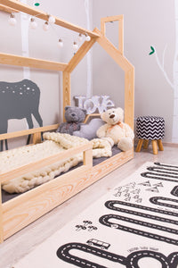 GAYA WOODEN HOUSE BED WITH RAILINGS