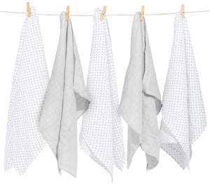 MINI DOTS MUSLIN SQUARE- 5 PACKS