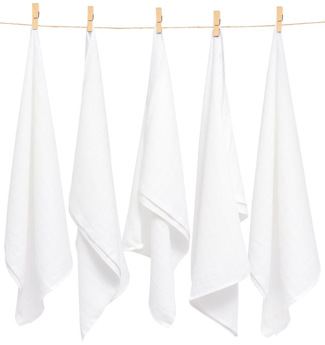 PURE WHITE MUSLIN SQUARE- 5 PACKS