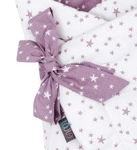 Load image into Gallery viewer, LILAC AND PURPLE STARS SWADDLE BLANKET