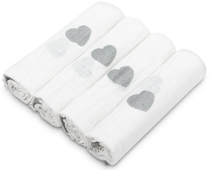 SILVER HEARTS MUSLIN SQUARE- 4 PACKS