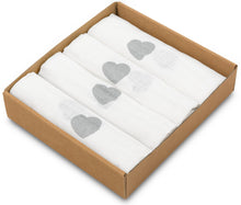 Load image into Gallery viewer, SILVER HEARTS MUSLIN SQUARE- 4 PACKS