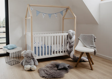 WHITE SOLID WOOD BABY HOUSE COT BED