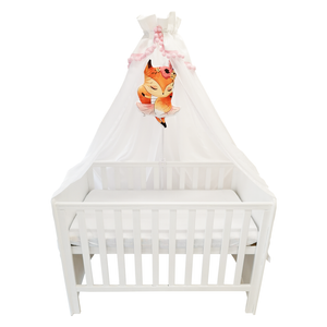 WHITE BABY BED CANOPY WITH PINK POMPONS