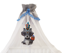 Load image into Gallery viewer, GRAY WHITE BABY BED CANOPY WITH BLUE POMPONS