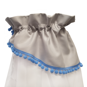GRAY WHITE BABY BED CANOPY WITH BLUE POMPONS