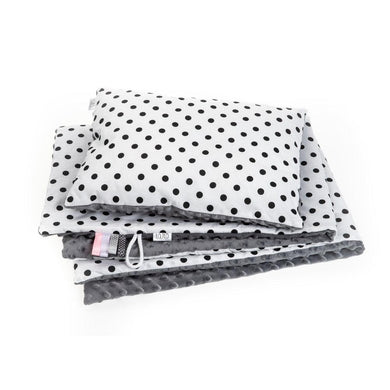 BLACK DOTTY BLANKET SET WITH MINKY