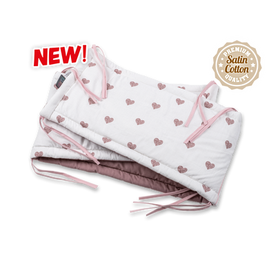 BLUSH HEARTS COT BUMPER