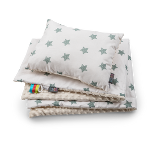 High quality handmade baby blanket set with green stars pattern made by Lajlo