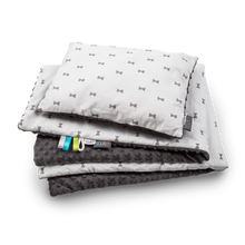Load image into Gallery viewer, GREY BOWS NEWBORN BLANKET SET WITH MINKY