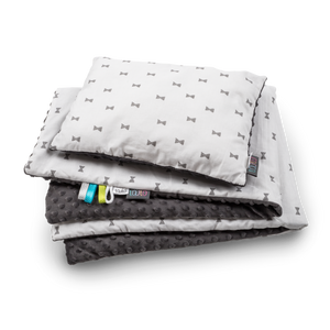 GREY BOWS NEWBORN BLANKET SET WITH MINKY