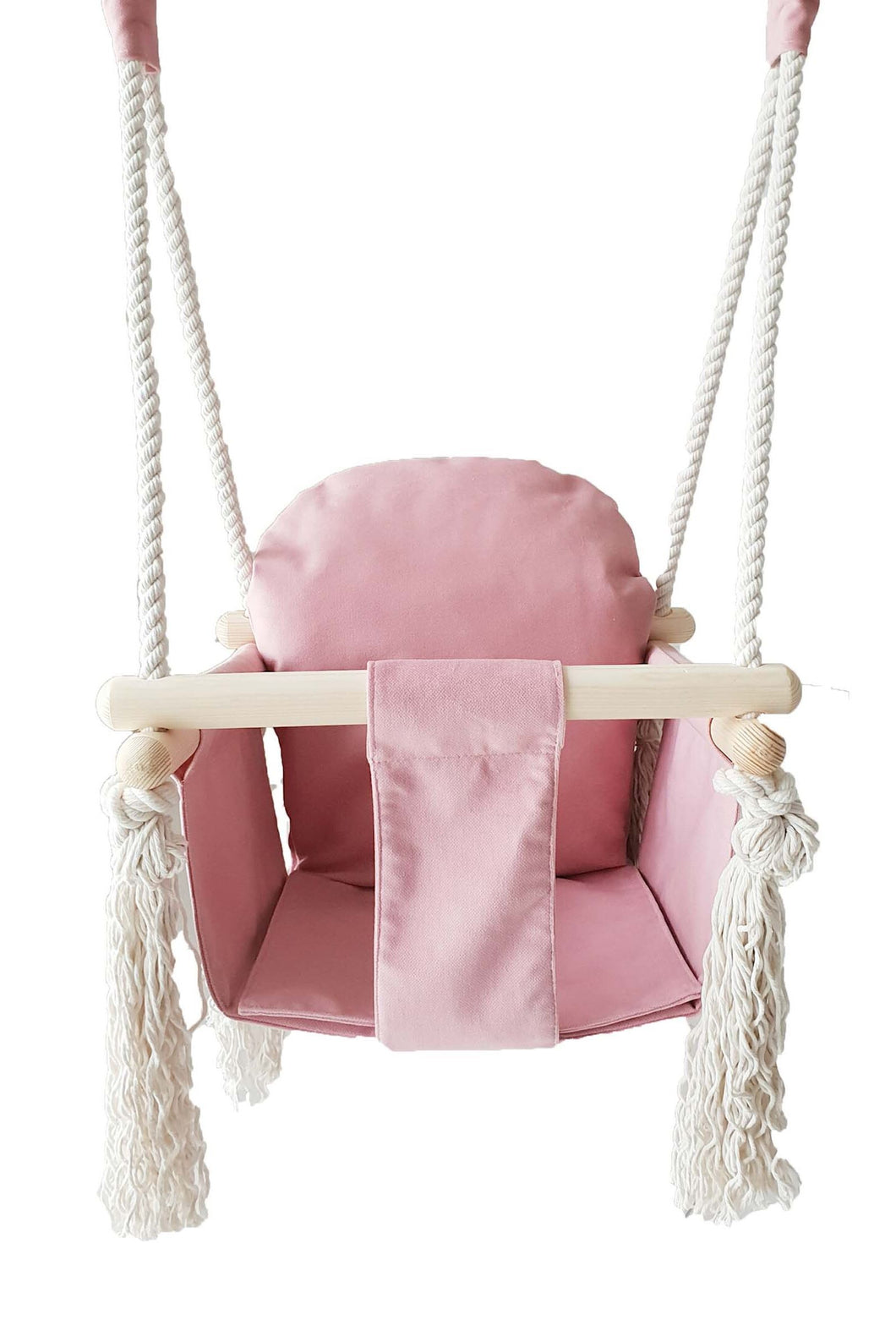 VELVET BUNNY WOODEN SWING - CANDY PINK