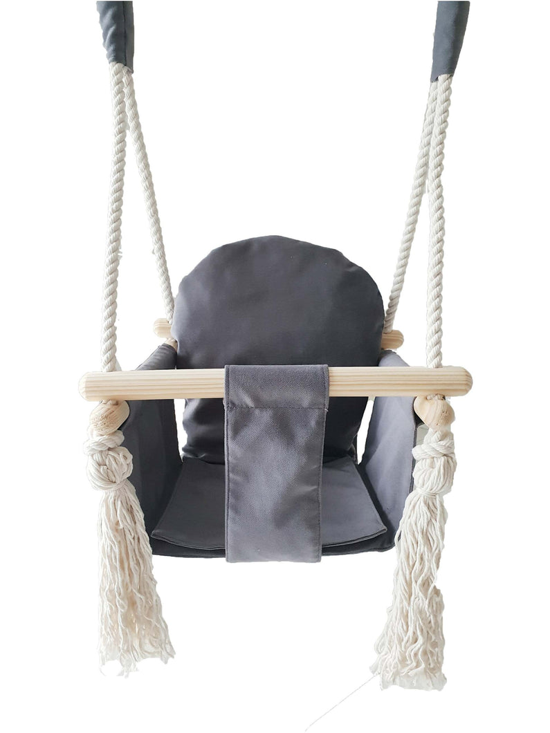 Graphite baby bunny wooden swing