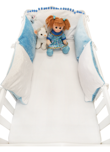 WHITE BLUE 5 ELEMENTS COT BUMPER