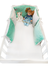 Load image into Gallery viewer, High quality handmade 5 elements cot bumpers in mint and white made by Lajlo