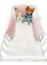 Load image into Gallery viewer, WHITE PINK 5 ELEMENTS COT BUMPER WITH PINK POMPONS