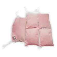 Load image into Gallery viewer, WHITE PINK  COT BUMPER WITH PINK POMPONS