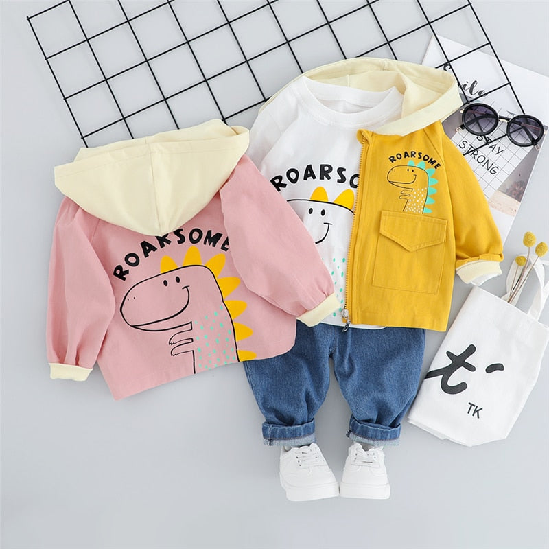 Roarsome Dino Outfit 1Pcs =Coats+T Shirt+Pants-unisex pant and top-Purple Bees