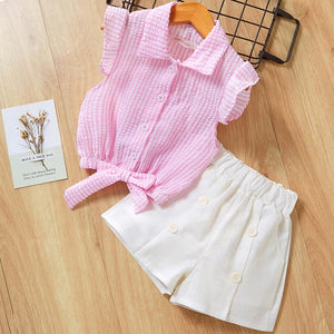 Lovely Summer Girlish Set-girls pant and top-Purple Bees