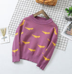 Retro Knitted Sweater With Dino Pattern-unisex top-Purple Bees