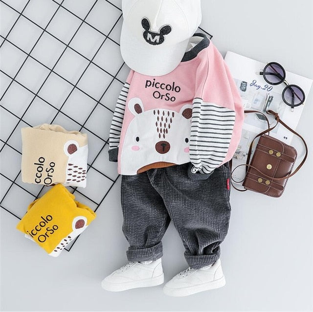 Unisex Autumn Teddy Bear Clothing Set-unisex pant and top-Purple Bees