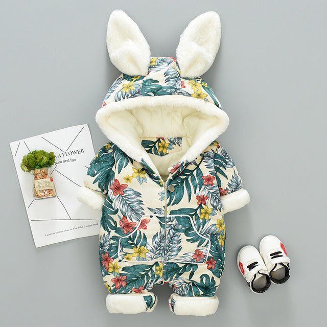 Newborn Baby Girl Winter Romper