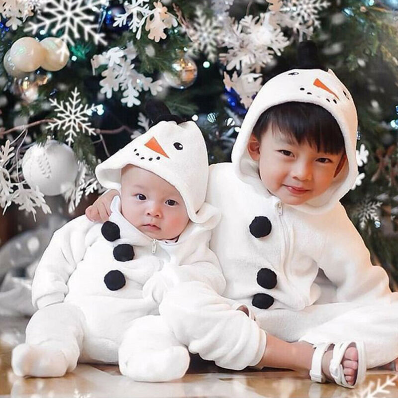 Baby Christmas Snowman Rompers-Baby Jumpsuits-Purple Bees
