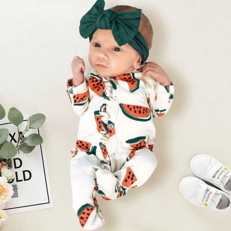 Cute Watermelon Print Long Sleeve Romper