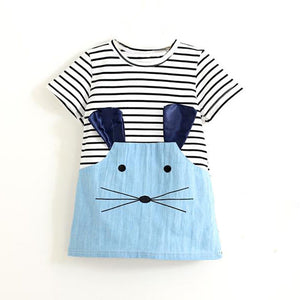 WHISKERS STRIPED MOUSE DRESS-girls skirts and dresses-Purple Bees