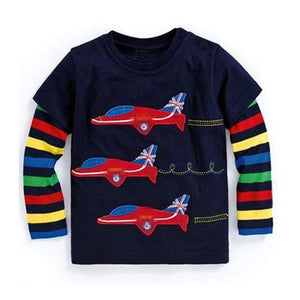 Cool Baby Boy Long Sleeve Airplane T-Shirt-boys tops-Purple Bees