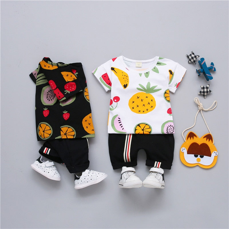 Summer Fruit Cocktail Unisex Set For Kids-unisex pant and top-Purple Bees