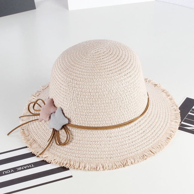 Straw Star Hat For Girls-accessorises-Purple Bees