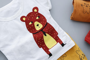Casual Summer outfit with Printed Bear-unisex pant and top-Purple Bees