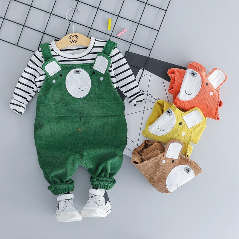 Adorable Bear Outfit Set Available in 4 Colors-jumpsuits-Purple Bees