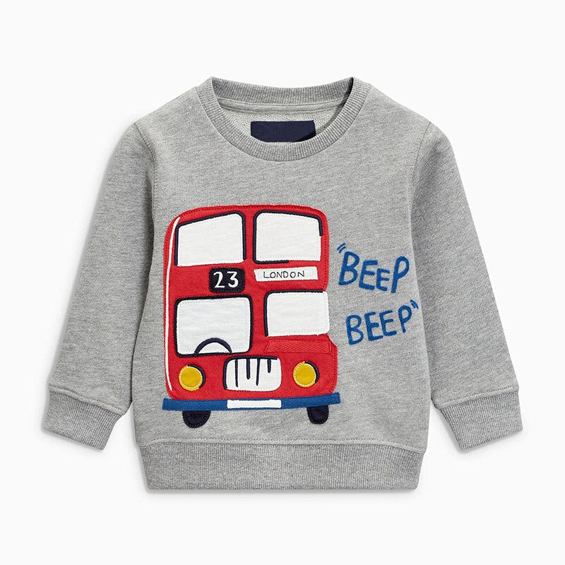 Baby Boys Long Sleeve T-shirt With Bus Print-boys tops-Purple Bees