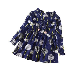 Baby Girls Long Sleeve Floral Dress-Girls Skirts & Dresses-Purple Bees