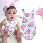 Summer Baby Girl Watermelon Printed  Romper & Headband