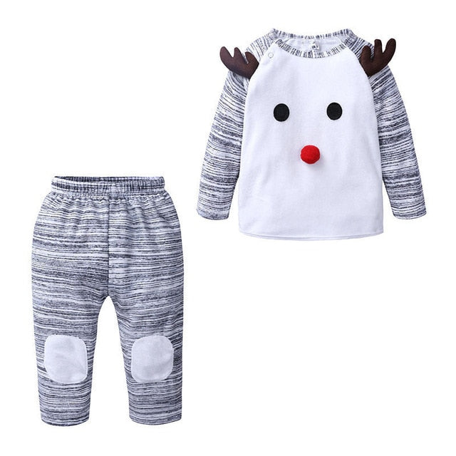 Baby Christmas Deer Outfit-baby top and pants-Purple Bees