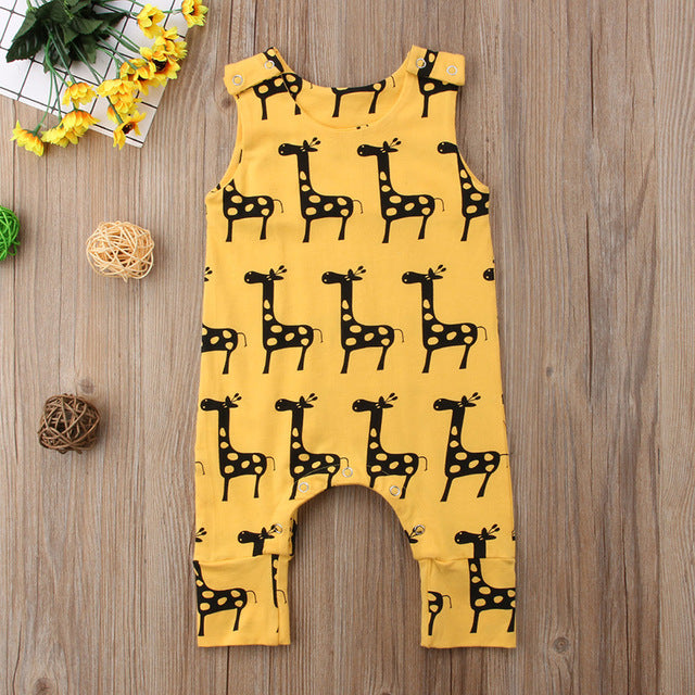 Summer Baby Unisex Jumpsuit With Giraffe Print