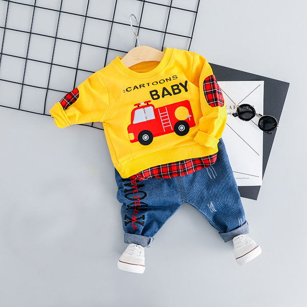 Baby Boy Casual Jeans Pants and Car T-shirt Set-boys pants boys tops-Purple Bees
