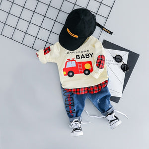 Baby Boy Casual Jeans Pants and Car T-shirt Set