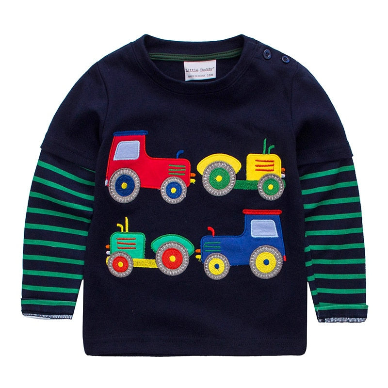 Cool Baby Boy Long Sleeve T-Shirt with Truck Print