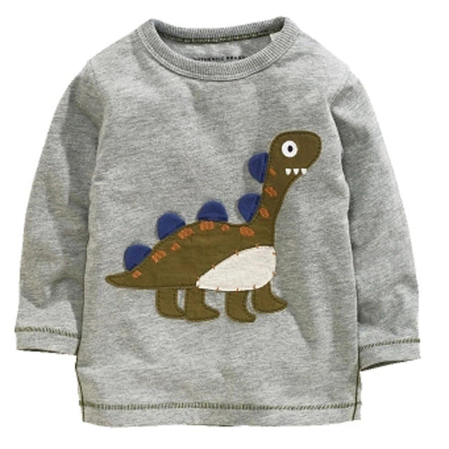 Cool Baby Boy Long Sleeve T Shirt with Dinosaur Print-boys tops-Purple Bees