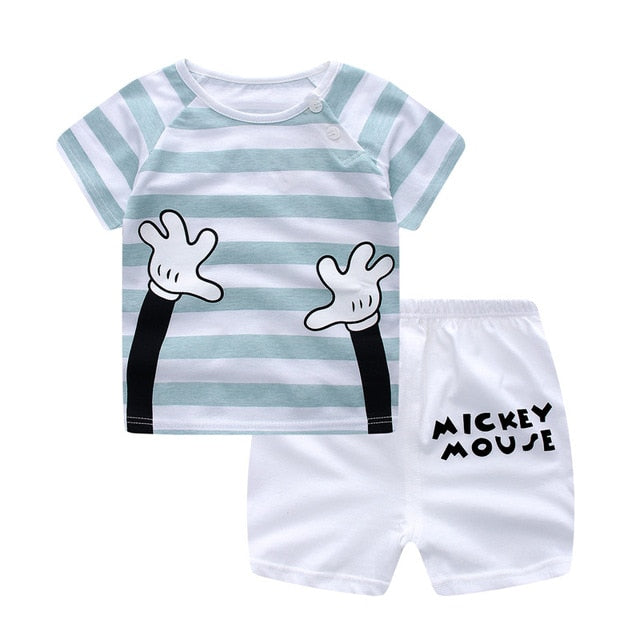 Fun Unisex Mickey 2-Piece T-shirt & Short Set-unisex pant and top-Purple Bees