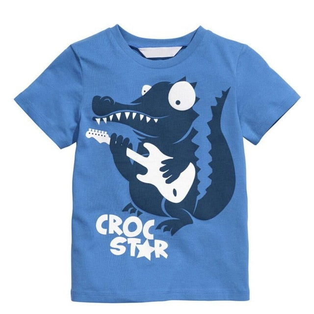 Funny Little Crocodile Short Sleeve Tee-unisex top-Purple Bees