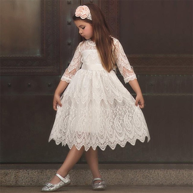 Fancy Baby Girl White Lace Party Dress-girls skirts and dresses-Purple Bees