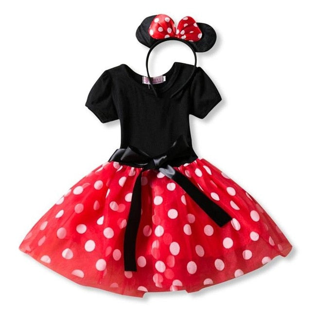 Fancy Baby Girl Black/Red Mini Mouse Party Dress