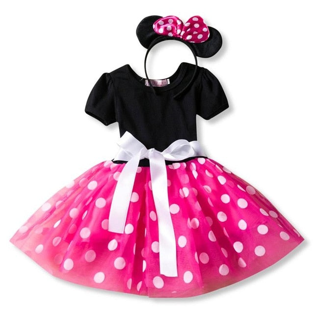 Fancy Baby Girl Black/Pink Mini Mouse Party Dress-girls skirts and dresses-Purple Bees