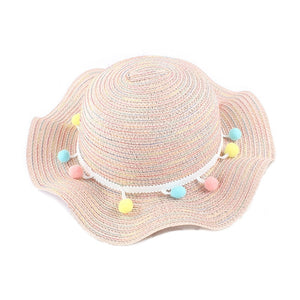 Kids Colorful Pom-Pom Straw Hats-accessorises-Purple Bees