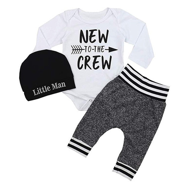 "Infant ""New To The Crew"" Clothing Set-unisex pant and top-Purple Bees"